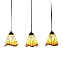 Tiffany Style Mission Geometric Pendant Light Adjustable Amber Glass 3 Lights Hanging Light