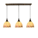 Tiffany Modern Shelly Suspended Light Metal Triple Head Drop Light in Antique Brass
