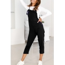 Hot Sale Plain Loose Sleeveless Square Neck Crop Overall Pants Jumpsuit