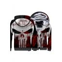 Cool Colorbloack Skull Printed Long Sleeve Zip Closure Warm Coat