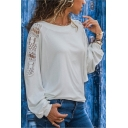 Plain Round Neck Long Sleeve Hollow Out Loose Tee
