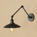 Vintage Swing Arm Wall Lamp Metal 1 Light Accent Wall Sconce in Black for Living Room