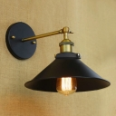 Aged Brass Finish Cone Wall Sconce Industrial Retro Metal Single Light for Restaurant