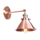 Copper Coolie Small Wall Light Industrial Modern Aluminum 1 Head Decorative Wall Sconce