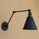 Metal Swing Arm Lighting Fixture Industrial Metal Single Bulb Wall Lamp in Black