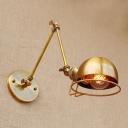 1 Head Adjustable Arm Wall Lamp Industrial Metal Decorative Wall Mount Fixture in Brass