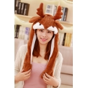 Tik Tok Cute Reindeer Moving Ear Brown Hat Cap