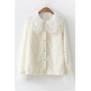 Fresh Long Sleeve Button Down Lace Patch Peter Pan Collar Stylish Shirt