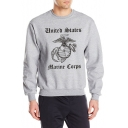 Cozy Long Sleeve Round Neck Cartoon Letter Printed Cotton Gray Sweatshirt for Guys