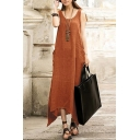 Linen Sleeveless Scoop Neck Solid Handkerchief Hem Maxi Asymmetrical Tank Dress