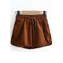 Winter's Vintage Corduroy Drawstring Waist Loose Fitted Khaki Shorts