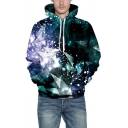 Charming Long Sleeve Gradient Geometric Printed Sports Green Hoodie