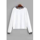 White Fashion Contrast Leopard Pattern Trim Crewneck Long Sleeve T-Shirt