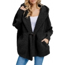 Women's Winter Shearling Hooded Long Sleeve Single Toggle Solid Warm Coat