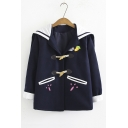 Lovely Cartoon Carrot Pattern Rabbit Ear Hooded Long Sleeve Toggle Button Down Coat