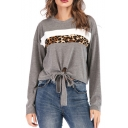 Fashionable Long Sleeve Round Neck Leopard Patched Knot Front Gray Loose Top