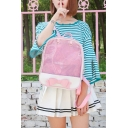 Lovely Fashion Bow-Embellished Sheer Layered Simple Chic Girls' Backpack