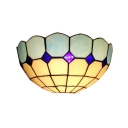 12 Inch Wide 2-Bulb Dark/Light Blue Checkered Wall Sconce Light in Mediterranean Style