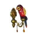 1 Light Parrot Shade Wall Lamp Tiffany Style Stained Glass Decorative Wall Sconce in Red