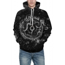 New Arrival Fashion 3D Printed Long Sleeve Black Unisex Casual Hoodie