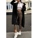 Winter's New Trendy Chic Long Sleeve Faux Fur Plain Tunics Notched Lapel Collar Coat