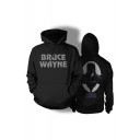 Letter BRUCE WAYNE Figure Printed Long Sleeve Sports Leisure Black Hoodie