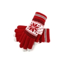 Snowflake Printed Warm Touchscreen Knit Thick Cycling Gloves for Couple
