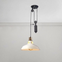 Pulley Suspended Light Retro Style Steel Pendant Lamp in White for Bedroom Staircase