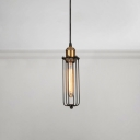 Slim Metal Frame Pendant Light Industrial Iron Suspended Lamp for Corridor Clothes Store