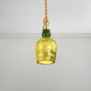 Bottle Shape Suspended Light Industrial Resin Hanging Light in Green for Restaurant