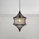 Retro Style Gyro Shaped Pendant Lighting Metal Caged Single Bulb Ceiling Pendant Light