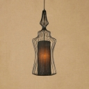 Vintage Style Gourd Pendant Light Wire Caged 1 Light Hanging Lamp for Farmhouse Restaurant