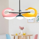 3 Light Swan Chandelier Nordic Style Plastic Ceiling Chandeliers in Multi Colors for Kids Room