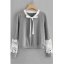 Bow-Tied Round Neck Lace-Paneled Long Sleeve Loose Fitted Gray Pullover Sweatshirt