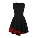 Vintage Plaid Patchwork Round Neck Sleeveless Zip Back Mini Black A-Line Pleated Dress