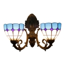 Bowl Wall Light Tiffany Mediterranean Style Stained Glass 2 Light Sconce Lighting in Blue