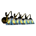 4 Lights Sailboat Sconce Light Tiffany Nautical Stained Glass Wall Lamp in Blue for Hallway