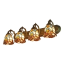 Multicolored Bell Wall Lighting Victorian Tiffany Style Stained Glass Four Lights Wall Lamp