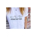 Hot Fashion White Cartoon Graphic Round Neck Short Sleeves Casual Tee