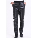 Cool Basic Elastic Waist Plain Black PU Pants