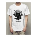 Fashion Moon Cat Letter Pattern Short Sleeve Crew Neck T-Shirt