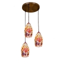 Flower and Butterfly Pendant Light Tiffany Style Shelly 3 Lights Suspended Light in Multicolor