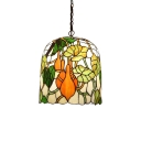 Bucket Hanging Light Tiffany Style Stained Glass 1 Light Ceiling Pendant Lamp in Multi Color