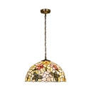 Tiffany Style Shelly Butterfly Suspension Light Stained Glass 1/3 Bulb Drop Light in Multi Color
