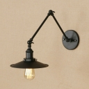 Conical Wall Sconce Industrial Metal 1 Light Wall Light with Swing Arm in Black