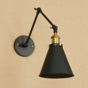 Metal Swing Arm Wall Light Industrial Concise 1 Head Wall Sconce in Black for Restaurant