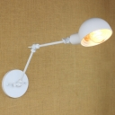 White Finish Swing Arm Lighting Fixture Modernism Iron Single Light Wall Light Sconce