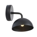 Single Bulb Dome Wall Light Industrial Simple Steel Wall Mount Light in Black for Corridor