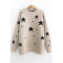 Fashion Long Sleeve Round Neck Star Printed Leisure Soft Sweater