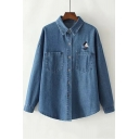 Cartoon Embroidered Lapel Collar Long Sleeve Button Down Denim Shirt with Chest Pockets